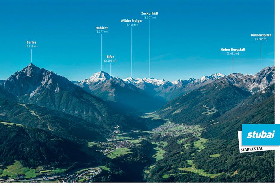 Seven Summits im Stubaital Übersichtskarte